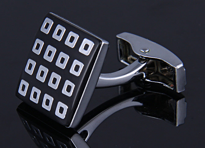 SILVER SQUARE BLACK ENAMELED CUFFLINKS