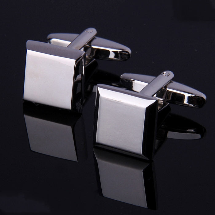 SOLID SILVER SQUARE CUFFLINKS