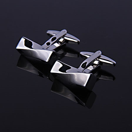TWISTED RECTANGULAR SOLID SILVER CUFFLINKS