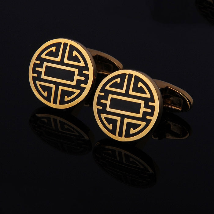 MEDALLION GOLD METAL CUFFLINKS
