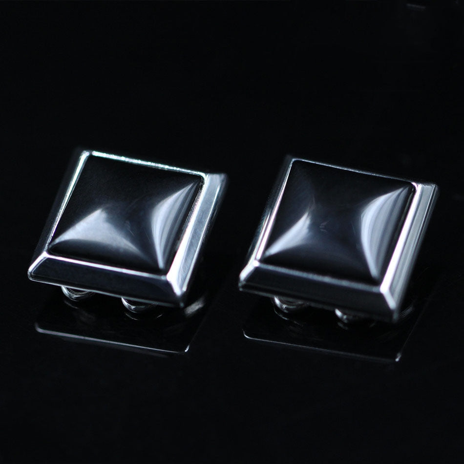 BUTTON COVER BLACK AGATE INLAID CUFFLINKS
