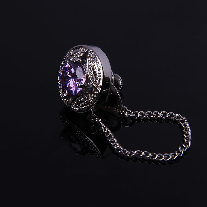 PURPLE CRYSTAL STONE LAPEL PINS WITH CHAIN