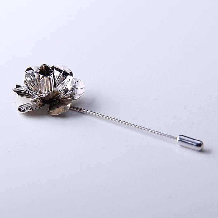 ROSE SILVER LAPEL PINS