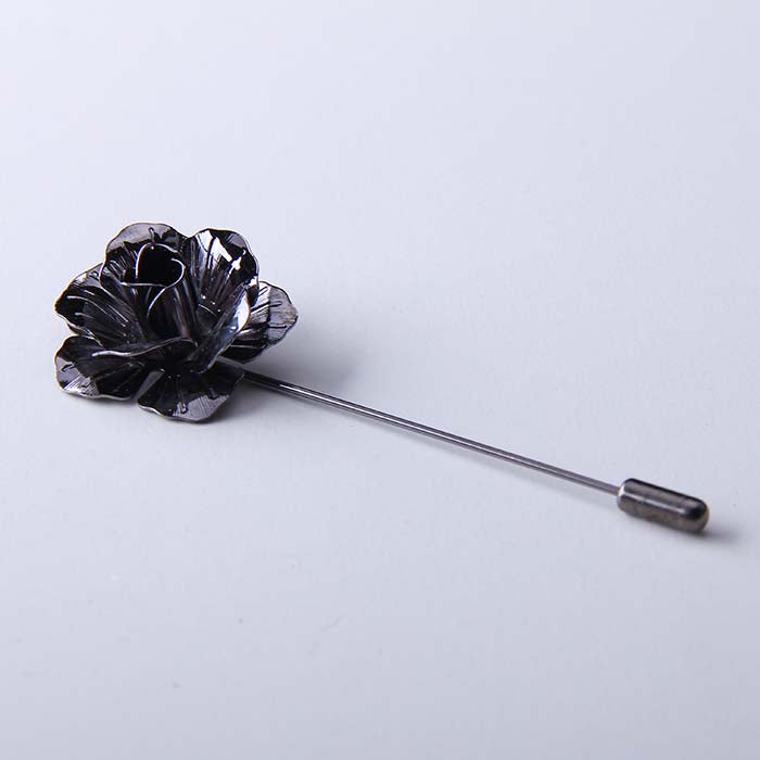 GUNMETAL ROSE LAPEL PINS