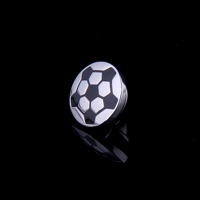 SOCCER BLACK ENAMELED SILVER LAPEL PINS