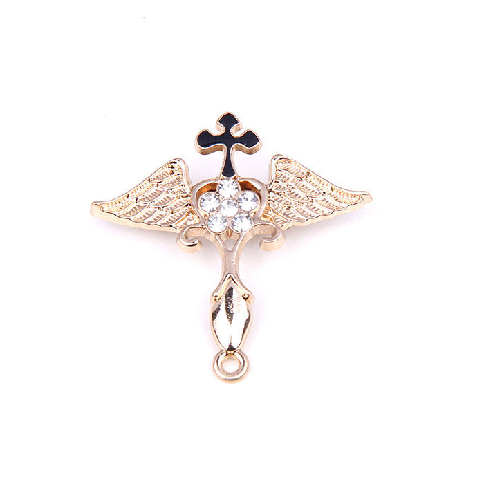 CHRISTIAN CROSS AND ANGEL WINGS STONE LAPEL PINS