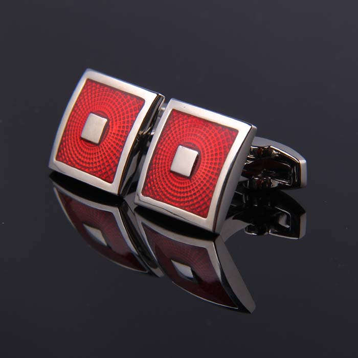 SILVER SQUARE ENAMELED CUFFLINKS