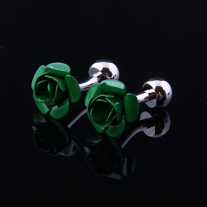 GREEN ROSE CUFFLINKS