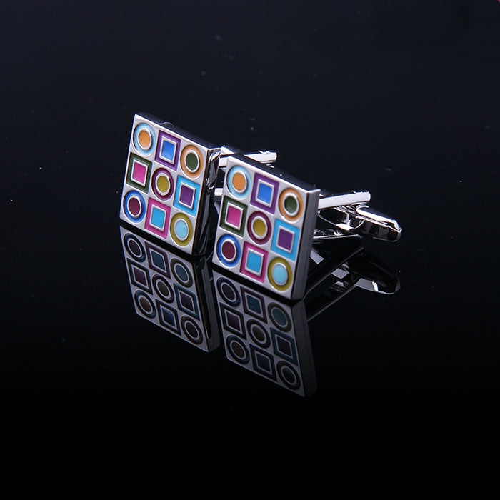 SILVER SQUARE MULTI COLOR ENAMELED CUFFLINKS