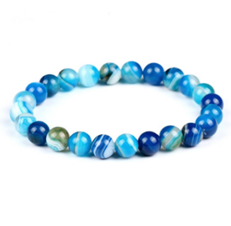 BLUE BOTSWANA AGATE GEMSTONE BEADS STRETCH BRACELETS
