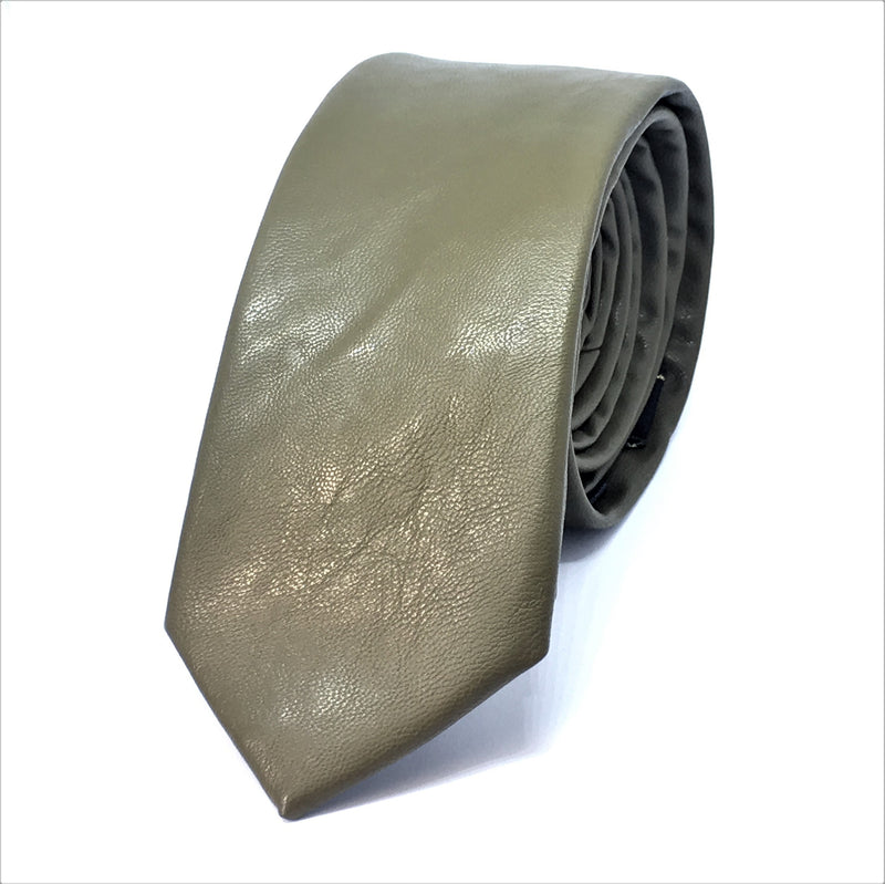 OLIVE FAUX LEATHER SKINNY TIES