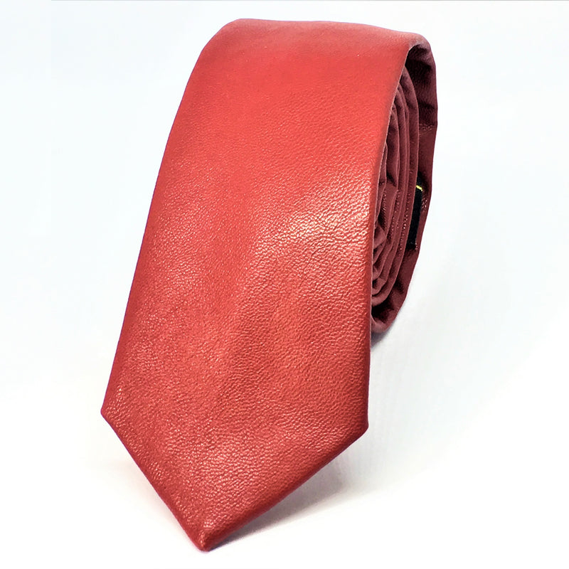 RED FAUX LEATHER SKINNY TIES