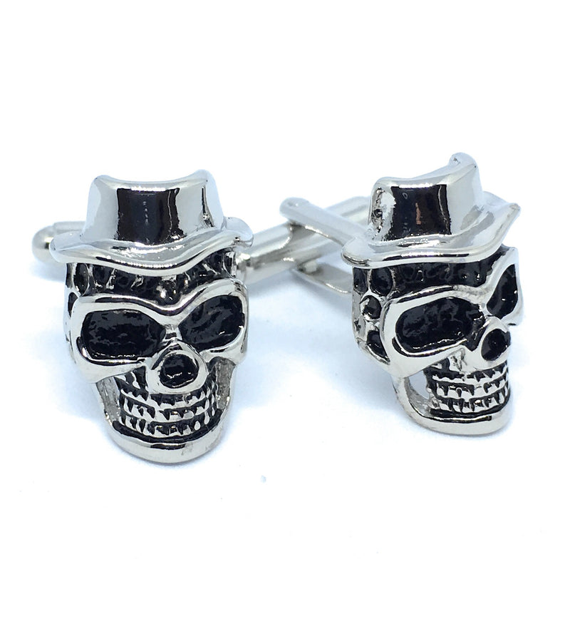 SKULL WITH HAT SILVER CUFFLINKS