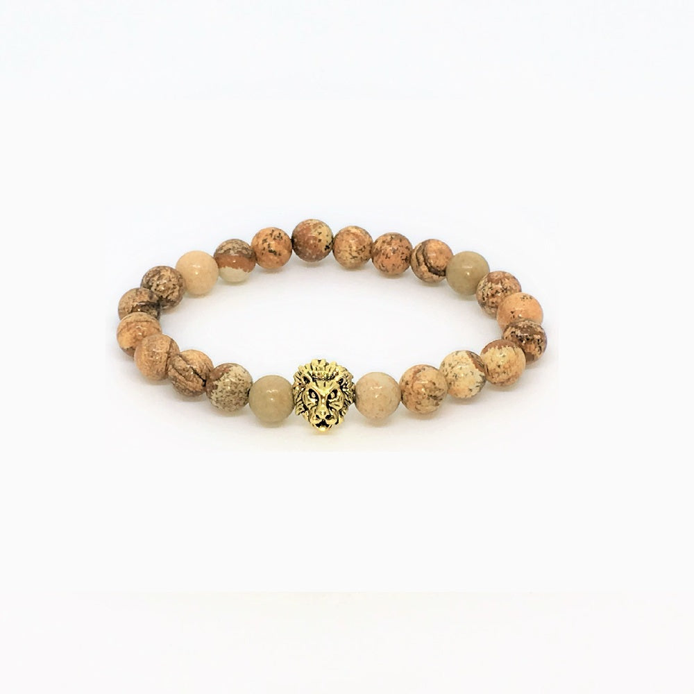 GOLDEN LION HEAD NATURAL STONE BEADS STRETCH BRACELETS