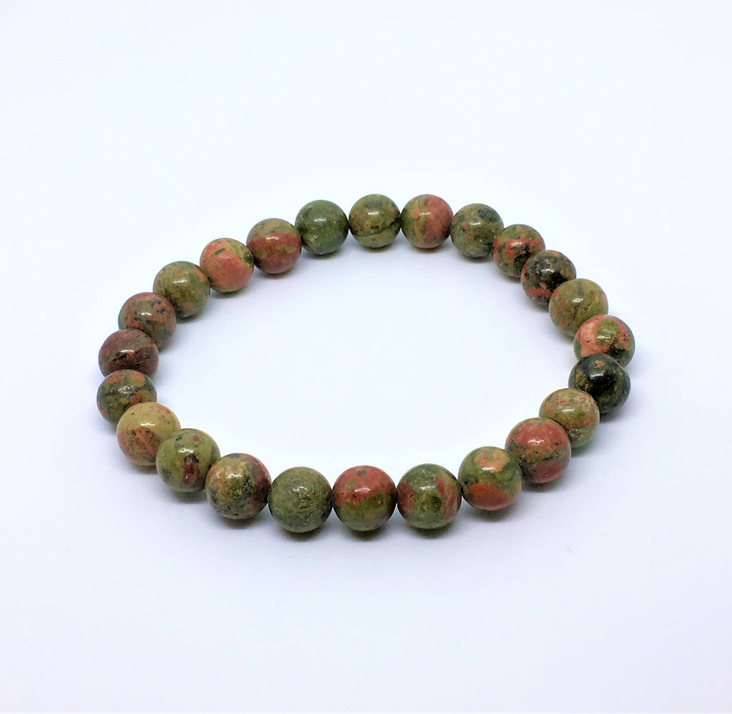 NATURAL GREEN STONE BEADS STRETCH BRACELETS
