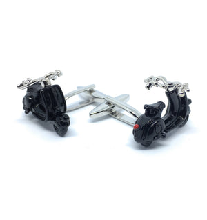 BLACK ENAMELED  SCOOTER METAL CUFFLINKS