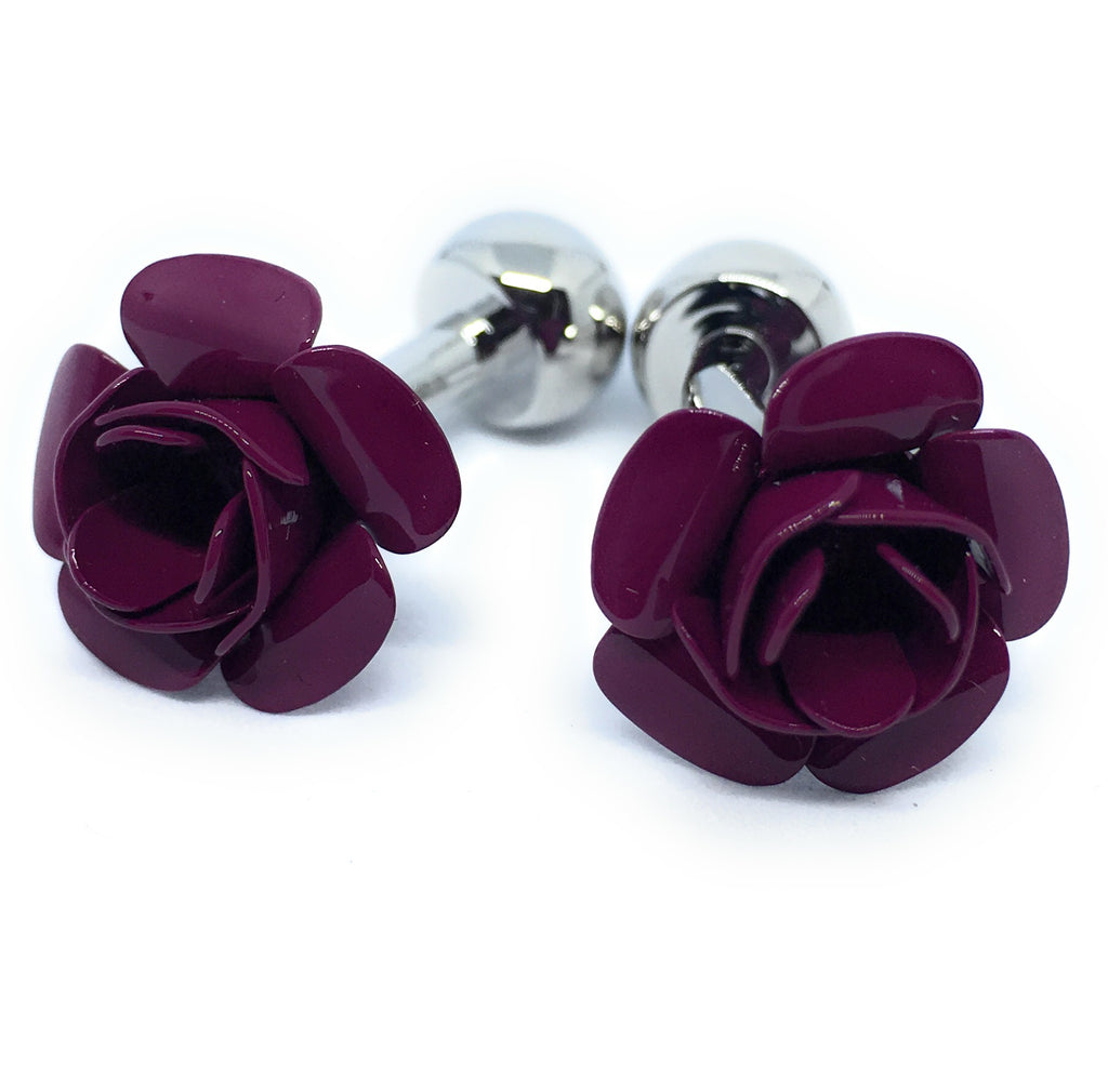 BURGUNDY ROSE CUFFLINKS