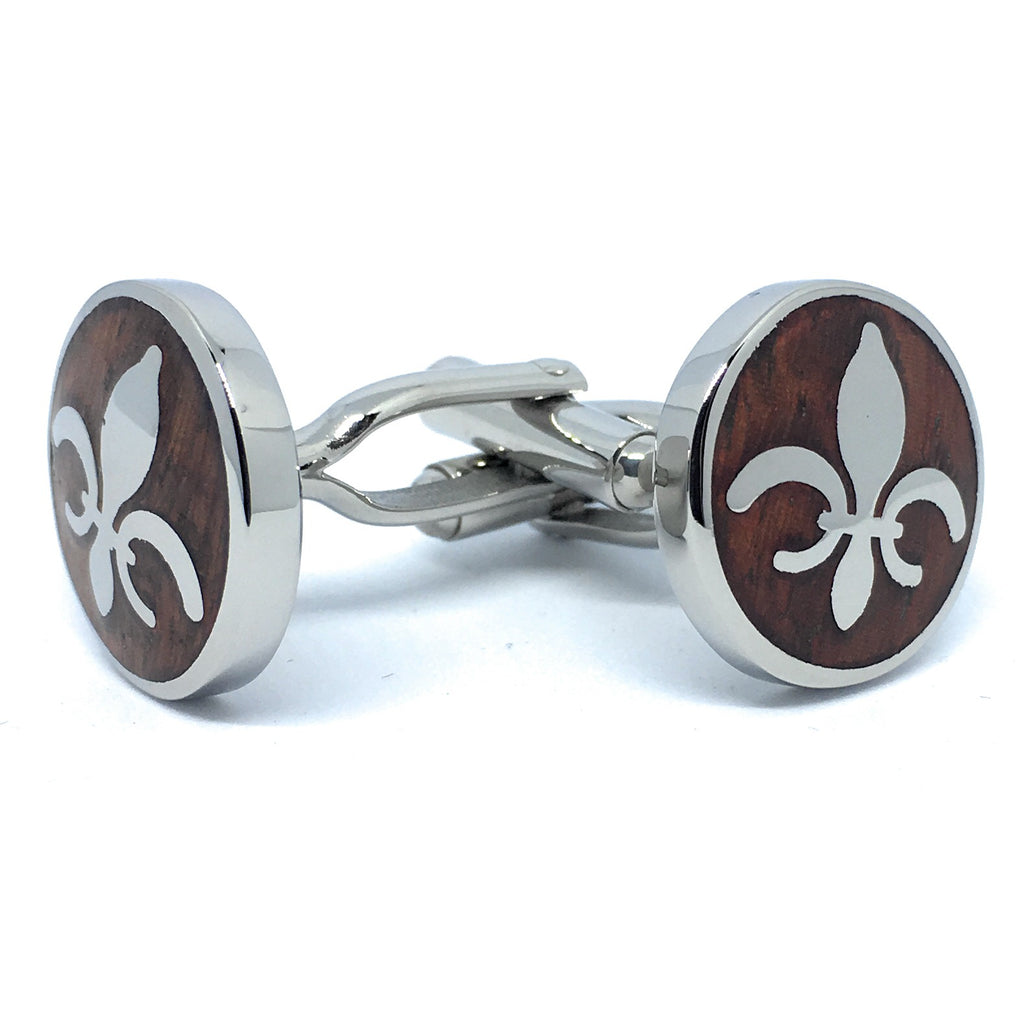 FLEUR DE LIS INLAID WOOD FINISHED METAL CUFFLINKS