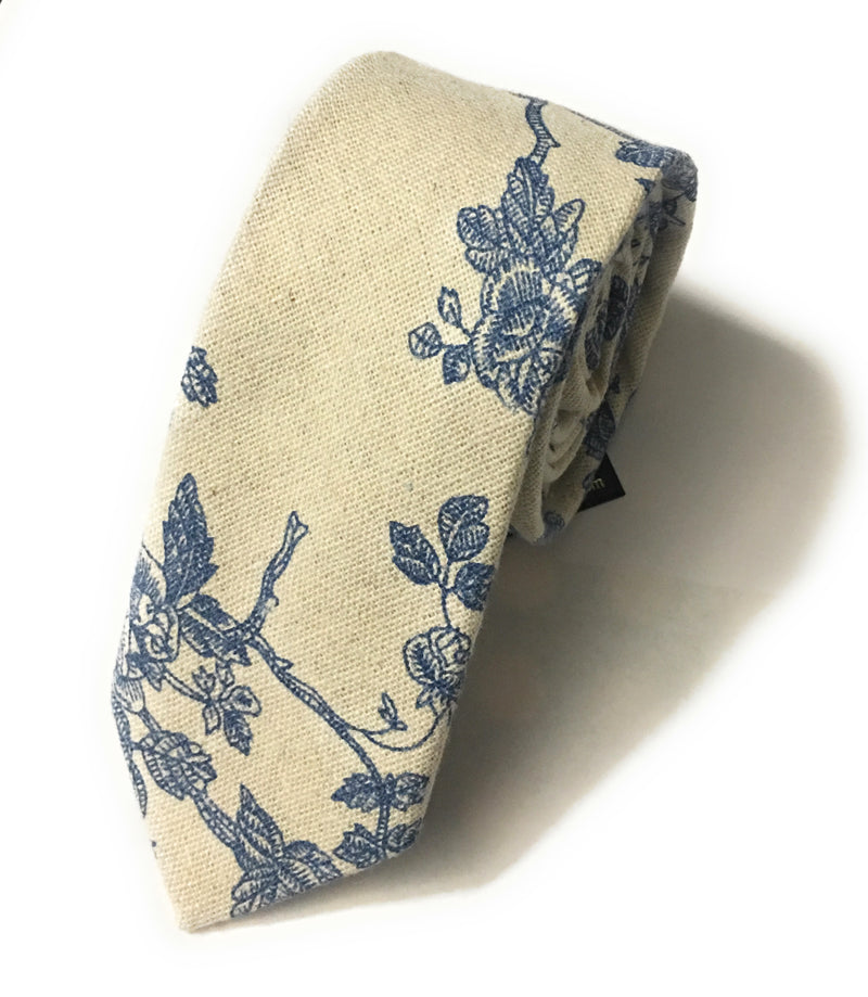 FLORAL PRINTED COTTON LINEN TIES