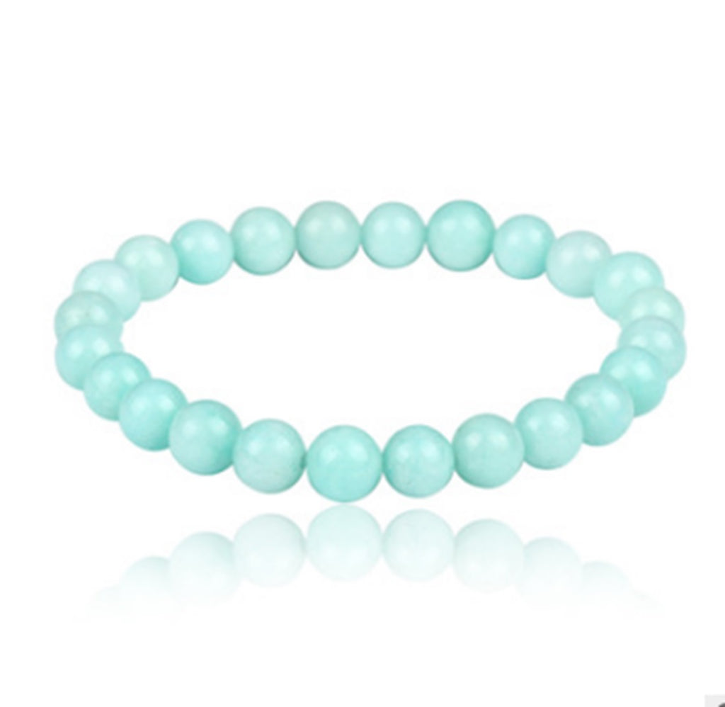NATURAL GREEN JADE STONE BEADS STRETCH BRACELETS