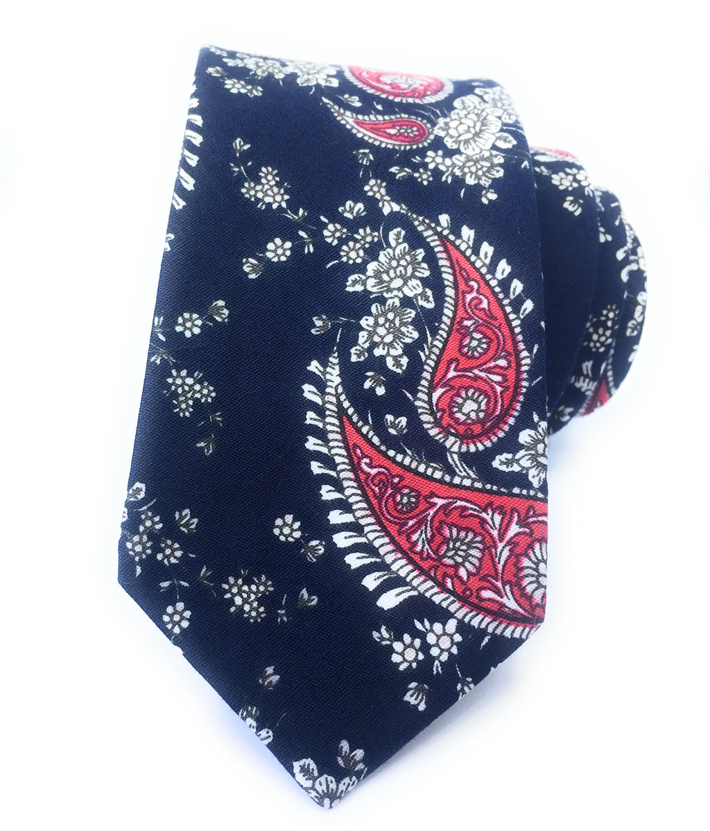 MIDNIGHT PAISLEY FLOWER TIES