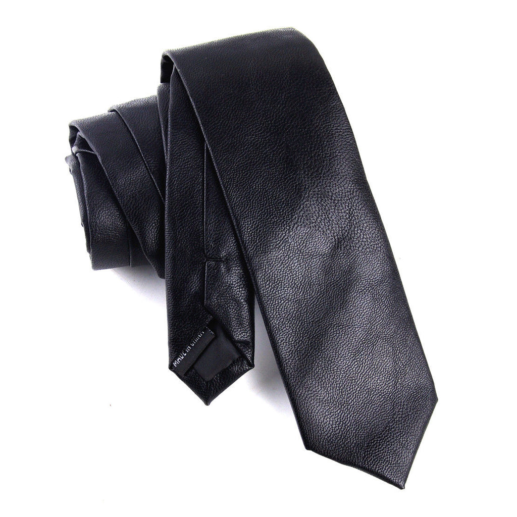 BLACK FAUX LEATHER SKINNY TIES