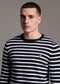 Lyle and Scott breton stripe jumper dark navy white