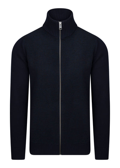 ZIP THRU LATER KNIT - DARK NAVY
