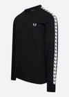 fred perry taped longsleeve t-shirt trui zwart