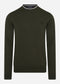 Classic crew neck jumper - hunting green snow white black