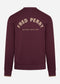 fred perry crewneck sweater burgundy back print