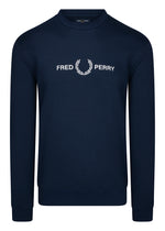 fred perry crewneck sweater trui dark navy