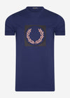 fred perry t-shirt laurel wreath french navy