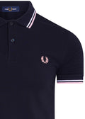 Twin tipped polo - navy /  silver pink