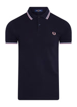 TWIN TIPPED POLO - NAVY/  SILVERPINK