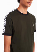 fred perry t-shirt taped ringer hunting green\