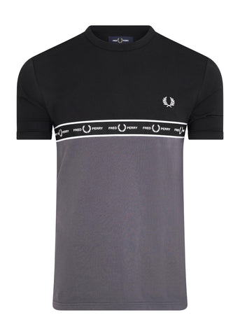 TAPED CHEST T-SHIRT - CHARCOAL 20