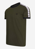 fred perry taped ringer t-shirt hunting green