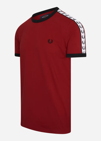 fred perry taped ringer t-shirt rood red