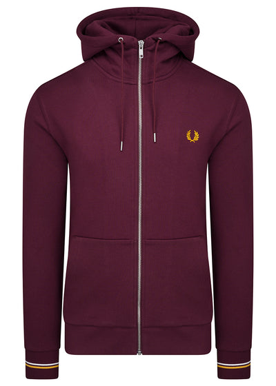 HOODED ZIP THROUGH SWEATSHIRT - MAHOGANY