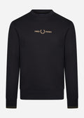 fred perry crewneck sweater black gold