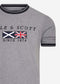 Flag t-shirt with tipping - mid grey marl