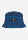 Reversible check bucket hat - navy ocean