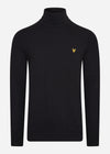 lyle and scott roll up neck jumper zwart