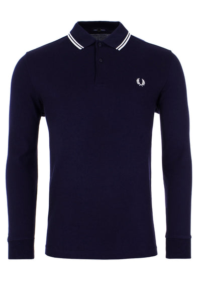 TWIN TIPPED LONGSLEEVE POLO - CARBON PORCELAIN
