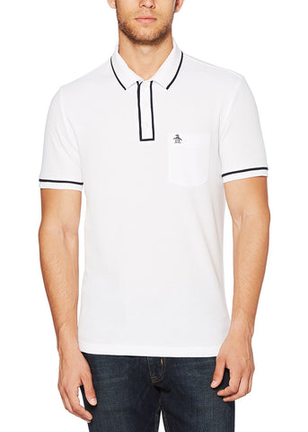 THE EARL POLO - BRIGHT WHITE / DARK SAPPHIRE