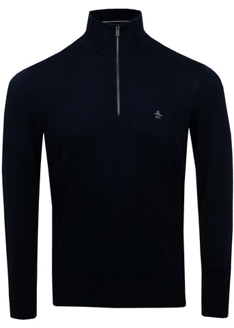 SUPIMA 1/4 COTTON SWEATER - DARK SAPPHIRE