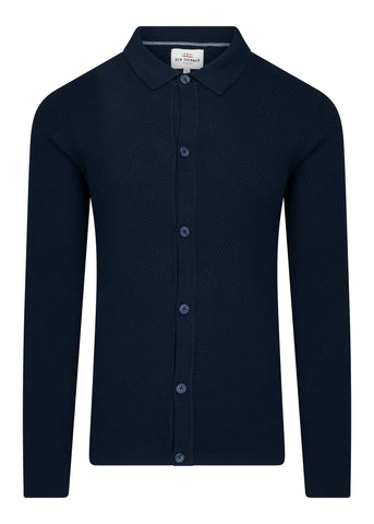 TEXTURED KNITTED POLO - DARK NAVY