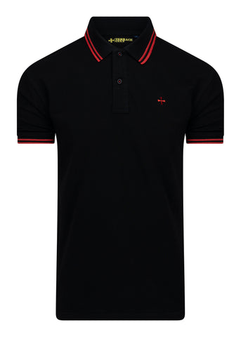 PIQUE POLO - BLACK/RED