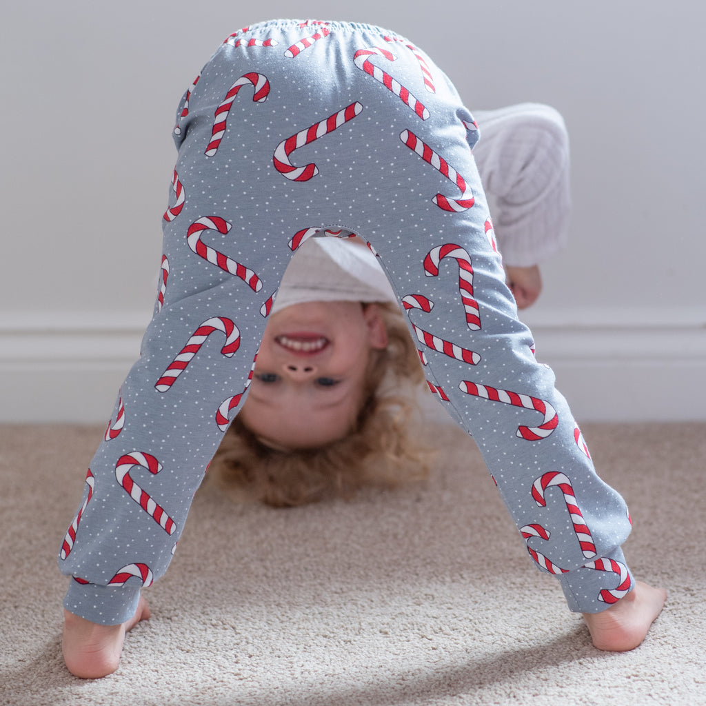 Grey Candy Cane Baby & Toddler Leggings